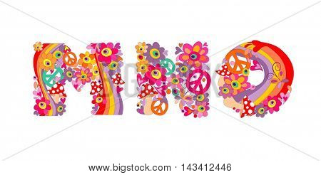 Hippie childish alphabet with colorful abstract flowers, rainbow and mushrooms. M, N, O
