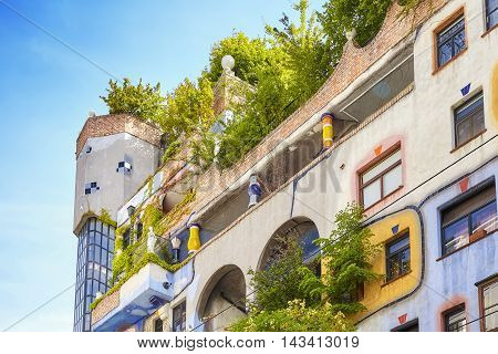 Vienna, Austria - August 15, 2016: Facade Of The Hundertwasserhaus, An Apartment Building Built Afte