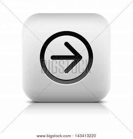 Web icon with black arrow sign. Rounded square button with shadow reflection on white background. Series in a stone style. Vector illustration graphic clip-art design element save in 8 eps