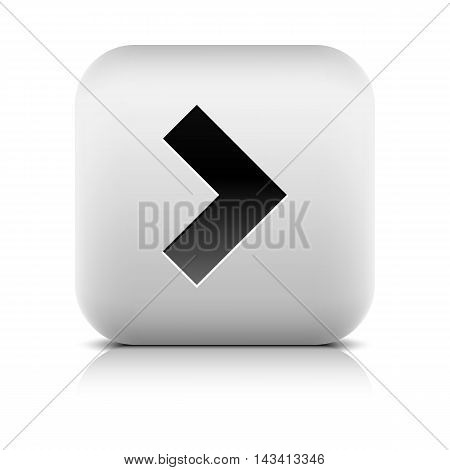 Gray icon with black arrow sign. Series in a stone style. Rounded square button with shadow reflection on white background. Vector illustration graphic clip-art design element save in 8 eps