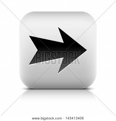 Gray icon with black arrow sign. Rounded square button with shadow reflection on white background. Series in a stone style. Vector illustration graphic design element save in 8 eps
