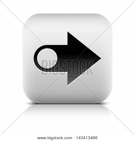 Web icon with arrow sign. Series in a stone style. Rounded square button with black shadow and gray reflection on white background. Vector illustration graphic internet design element in 8 eps
