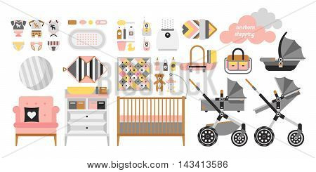 Baby care set. Vector products for a newborn. Cribs baby stroller childrens clothing toys and other baby stuff for a newborn. Vector baby shower stuff.
