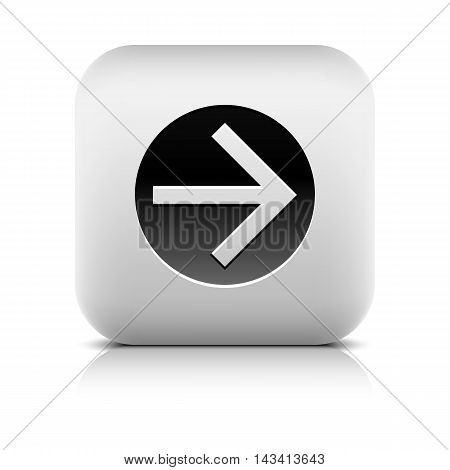 Web icon with black arrow sign in circle. Rounded square button with gray shadow reflection on white background. Series in a stone style. Vector illustration graphic internet design element in 8 eps