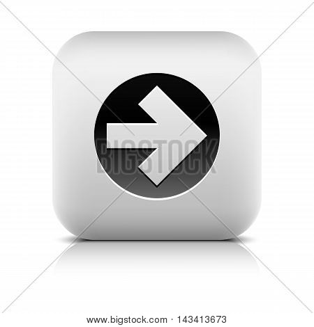 Icon with black arrow sign in circle. Rounded square button with gray shadow reflection on white background. Series in a stone style. Vector illustration graphic internet web design element in 8 eps