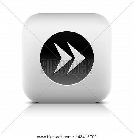 Web icon with black arrow sign in circle. Series in a stone style. Rounded square button with gray shadow reflection on white background. Vector illustration graphic internet design element in 8 eps