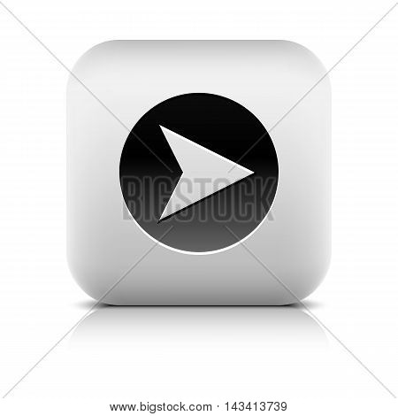 Icon with arrow sign in black circle. Series in a stone style. Rounded square button with shadow add reflection on white background. Graphic vector illustration internet web design element in 8 eps
