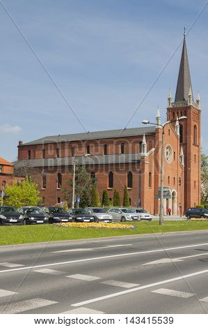 Poland Upper Silesia Gliwice St Barbara Church seen from south-east sunlit poster