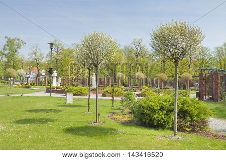 Poland Upper Silesia Gliwice Doncaster Square public garden in sprintime trees in bloom