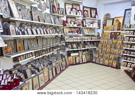 METEORA GREECE - March 13.2016: Collection of icons for sale to tourists on the shop-window of a souvenir shop