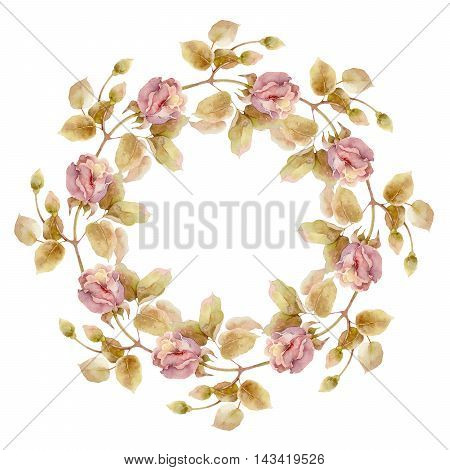 Round composition with pink roses isolated on white background. Watercolor illustration