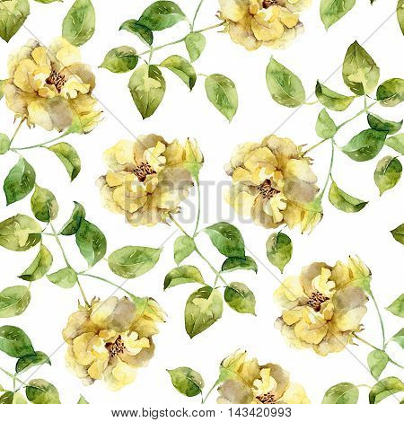 Seamless floral pattern with yellow roses. Watercolor illustration