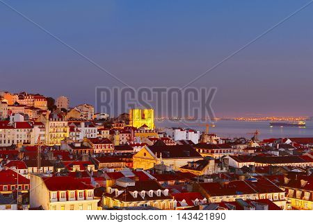 Lisbon skyline in the beautiful twilight. Portugal