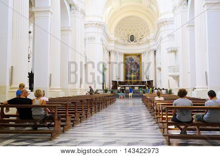 Urbino, Italy - August, 1, 2016: Interior of City Cathedral in Urbino, Italy