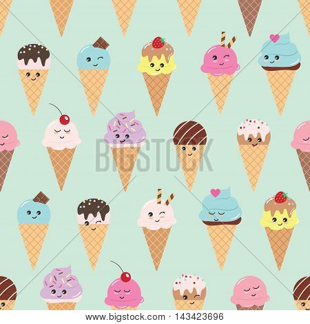 Seamless pattern with kawaii ice cream cones. For print and web.