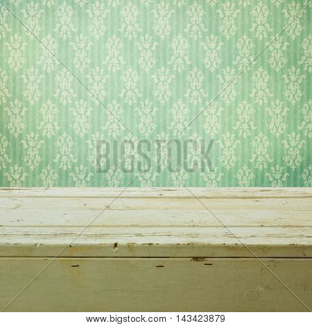 Retro classical wallpaper and empty wooden table