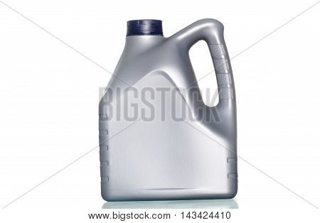 Grey Canister With Machine Oil On White Background
