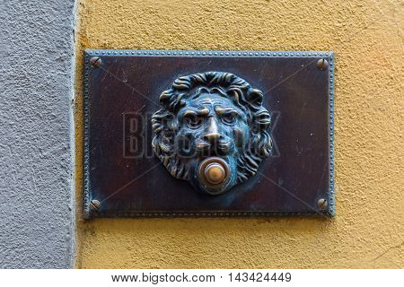 Antique Doorbell With Lion Head