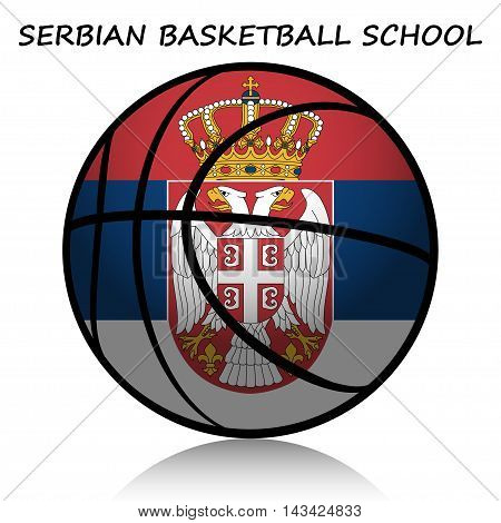 Illustration of basketball ball as a symbol of Serbian basketball school.