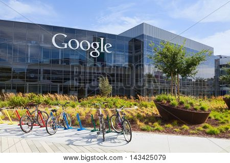 MOUNTAIN VIEW CA/USA - July 14 2014: Exterior view of a Google headquarters building. Google is an American multinational corporation specializing in Internet-related services and products