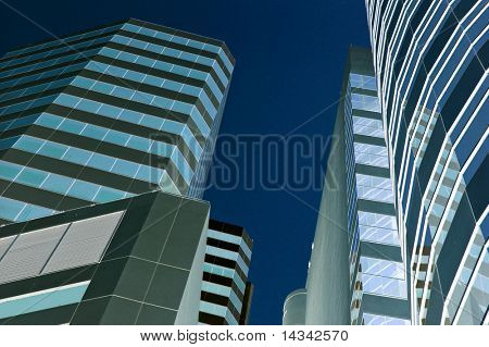 Bangkok city center rendered blue