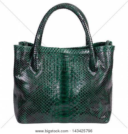 Fashion luxury snakeskin (python) handbag bag, handmade on Bali island, isolated on a white background