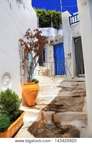 Greece- traditional  streets of Cyclades, Amorgos, Chora