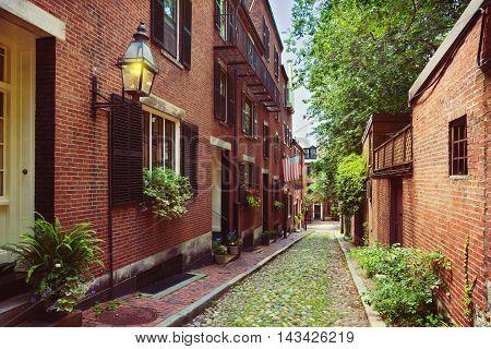 Historic Acorn Street in Beacon Hill Boston; Massachusetts USA