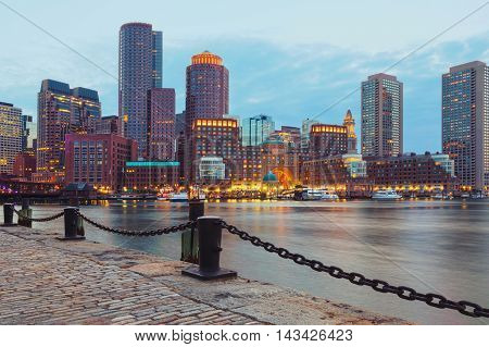 Boston Harbor and Financial District at sunset. Boston- Massachusetts USA