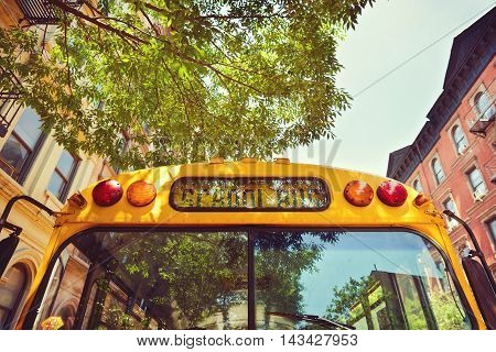School bus on street of New York city USA