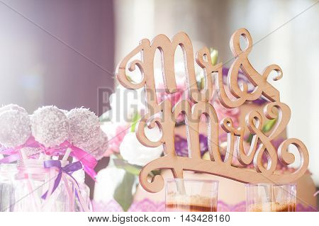 Wedding details. Mr and Mrs. Delicious wedding reception candy bar table.