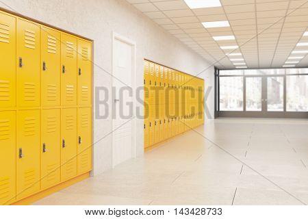 Lockers And Door In School Corridor