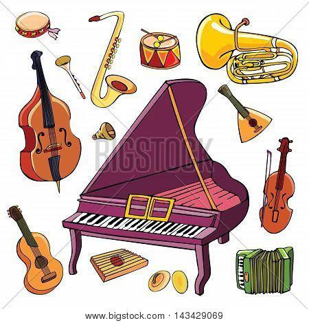 Set of cartoon musical instruments. Vector illustration.