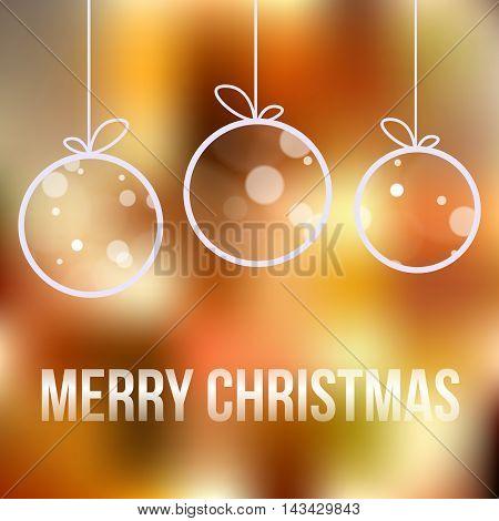 Christmas Card With Ball And Snowflakes