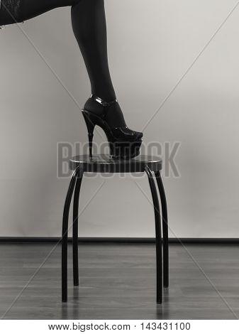 Sexy Female Leg In Black.