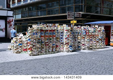 PRAGUE, CZECH REPUBLIC - JUNE 19, 2016: Wall of bricks with inscriptions and drawings under the auspices of the Charity Event Charity brick