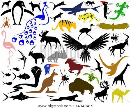 Collection of editable vector designs of animal shapes