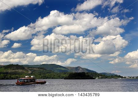 A boat on the shore of Derwent Water in the English Lake District