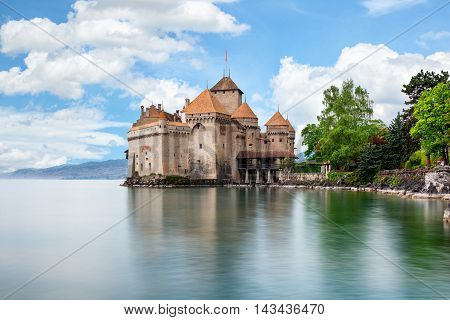 Beautiful view of famous Chateau de Chillon at Lake Geneva one of Switzerland's major tourist attractions and most visited castles in Europe Canton of Montreux Switzerland