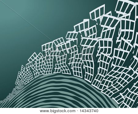 Editalbe vector illustration of an endless city
