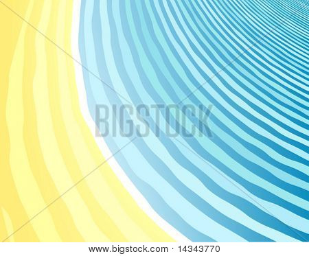 Abstract editable vector background of a beach and sea