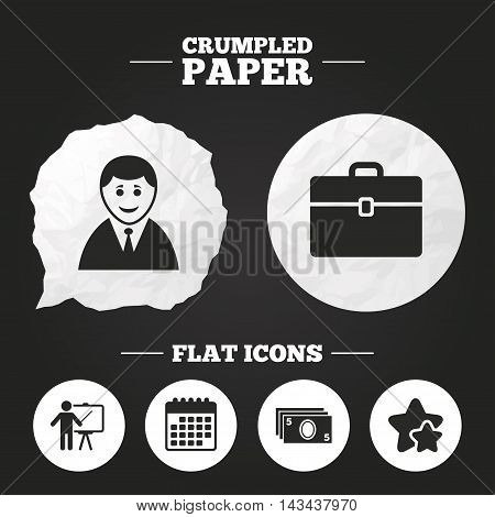 Crumpled paper speech bubble. Businessman icons. Human silhouette and cash money signs. Case and presentation symbols. Paper button. Vector