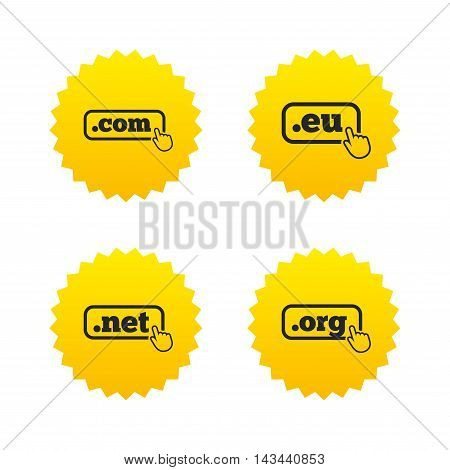 Top-level internet domain icons. Com, Eu, Net and Org symbols with hand pointer. Unique DNS names. Yellow stars labels with flat icons. Vector