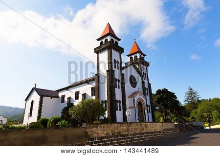 Church of Our Lady of Joy (Nossa Senhora da Alegria) in Furnas Portugal. Beautiful town church inaugurated over sixty years after the first stone was placed at the beginning of twenties century.
