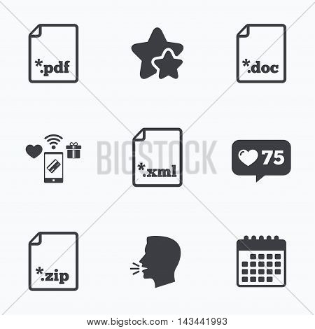 Download document icons. File extensions symbols. PDF, ZIP zipped, XML and DOC signs. Flat talking head, calendar icons. Stars, like counter icons. Vector
