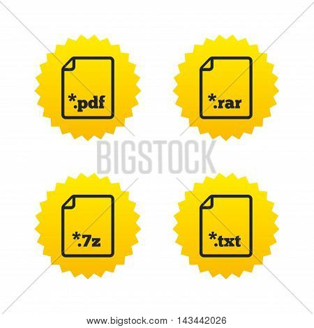 Download document icons. File extensions symbols. PDF, RAR, 7z and TXT signs. Yellow stars labels with flat icons. Vector