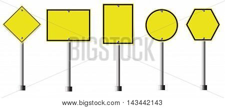 Yellow Roadsigns Set, yellow sign on isolated