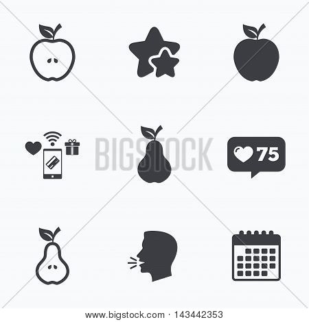 Fruits with leaf icons. Apple and Pear with seeds signs. Natural food symbol. Flat talking head, calendar icons. Stars, like counter icons. Vector