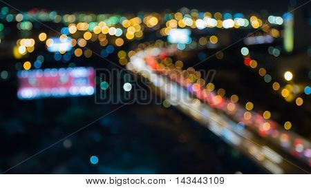 Nights lights, highway road curved, abstract background