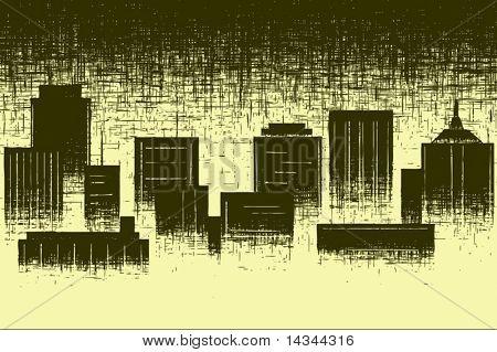 Editable vector design of a city skyline and grunge